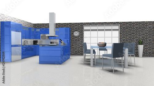 Moderne blaue Hochglanzküche mit Sitzecke - Modern blue high gl ...