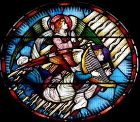 Fototapete - Two angels in stained glass (one with harp)