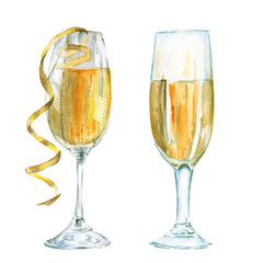 Glass of champagne. Insulated. Watercolor sketch.