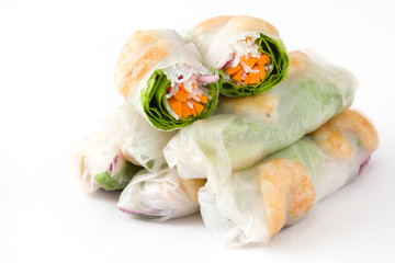 Vietnamese rolls with vegetables, rice noodles and prawns with sweet chili sauce isolated on white background