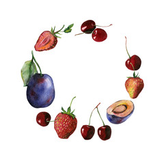 Watercolor fruit and berry frame of cherry, strawberry and plums. Set may be used for food packaging, wrapping paper or vegan menu design.