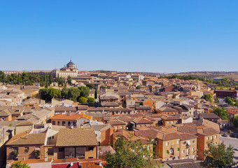 Spain, Castile La Mancha, Toledo, Elevated view of the Old Town..