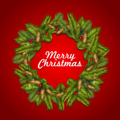 christmas background with fir tree branches and red berries