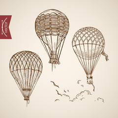 Engraving vintage hand drawn vector flying balloon Pencil Sketch
