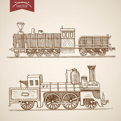 Engraving hand vector Railway transport train