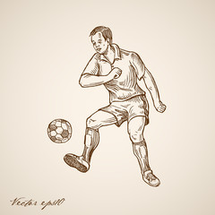 Engraving hand vector Football (Soccer) Offensive Forward Player