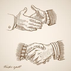 Engraving vintage drawn vector handshake Pencil Sketch partner