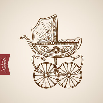 Engraving hand vector baby carriage Pencil Sketch