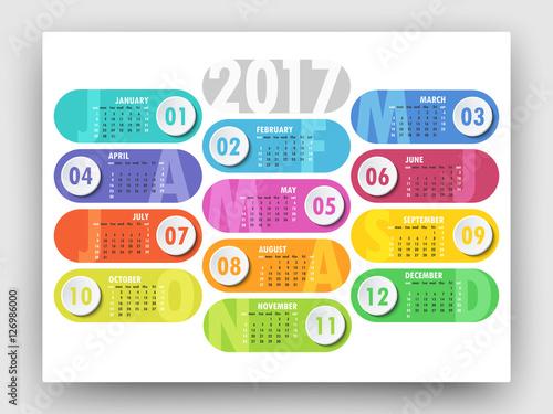 Modern Calendar For 2017 New Year Yearly Calendar Template Week