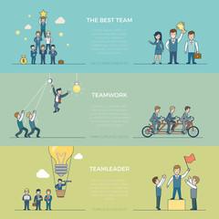 Linear Flat business men ride bike vector Business team work
