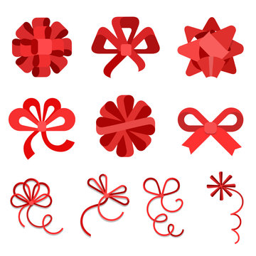 Flat Red gift bows ribbon isolated vector Holidays celebrations.