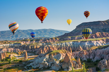 The great tourist attraction of Cappadocia - balloon flight. Turkey