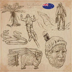 New Zealand. Pictures of Life. Vector pack. Hand drawings.