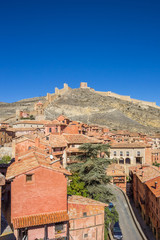 Colorful houses of Albarracin and the surrounding walls