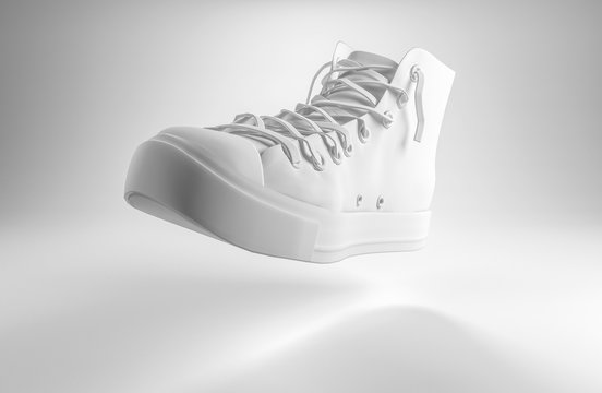 3d render of a white lace up sports shoe