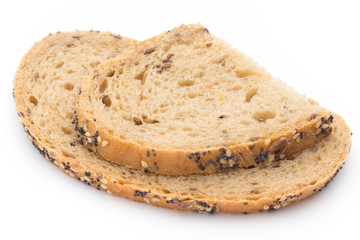 Sliced white bread with cereals. Isolated over white background.