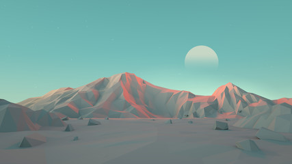 Low-Poly Desert Mountain Landscape Wall mural