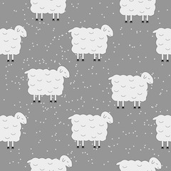 Winter Cute Seamless Christmas pattern sheep and christmas tree on gray background. Vector illustration.