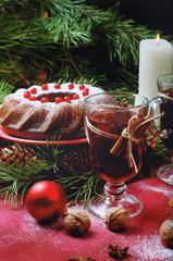 Christmas table setting. Bundt cake sprinkled with sugar powder