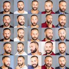 collage di viso di uomo con diverse espressioni