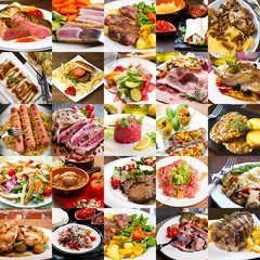 collage di foto di secondi piatti di carne della cucina internazionale