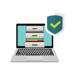 Laptop with boxes of documents and active protection. Shield and protect green checkmark for confirmation.