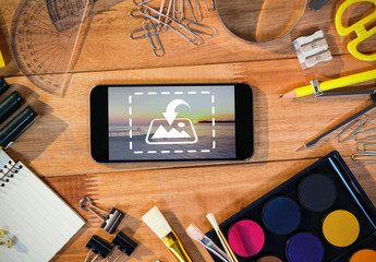 Smartphone Surrounded by Art Supplies Mockup