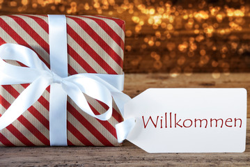Atmospheric Christmas Gift With Label, Willkommen Means Welcome