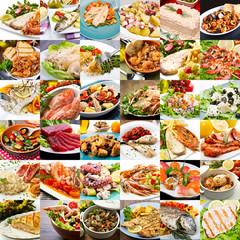 collage di foto di secondi piatti di pesce  della cucina internazionale