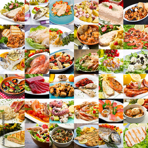 collage di foto di secondi piatti di pesce della cucina