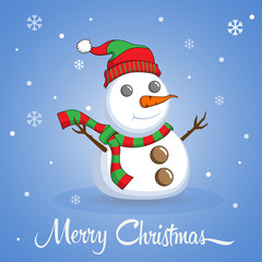 Snowman on Merry Christmas Background. Vector illustration