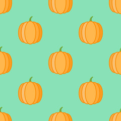 Seamless pattern with pumpkins on green background. Vector texture.