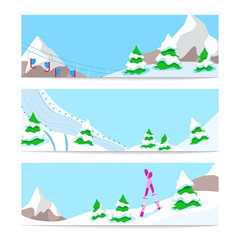 Winter Holidays Skiing Horizontal Banners Template with Snow Downhill and Mountains. Vector background