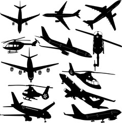 airplanes and helicopter collection - vector