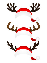 Set of funny hat  Santa Claus with reindeer horns on a white b