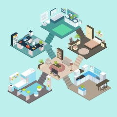 Isometric Rooms Composition