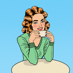 Pop Art Young Beautiful Woman Drinking Coffee in Cafe. Vector illustration