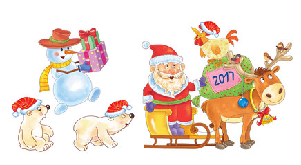 New Year. Greeting card for Christmas. Cute funny Santa on sledge with reindeer, little white bears and a snowman. A rooster and Christmas gifts.Illustration for children. Cartoon characters.