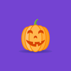 Funny halloween pumpkin isolated on dark background. Flat style icon. Vector illustration.