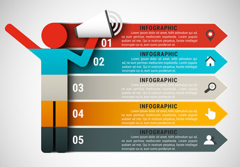 Pictogram and Megaphone Element Infographic with Grayscale Icon Set