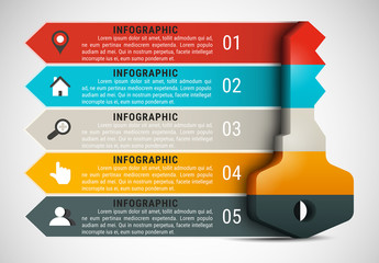 Key Element Infographic with Grayscale Icon Set