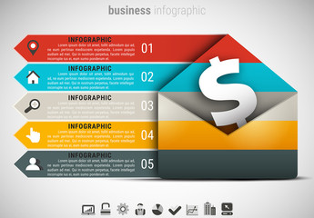 Envelope and Dollar Sign Element Infographic with Grayscale Icon Set
