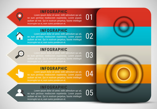 Speaker Element Infographic with Grayscale Icon Set