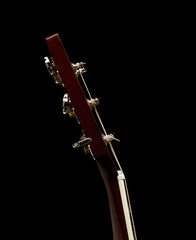 The Neck and Tuners of an Acoustic Flat Top Guitar