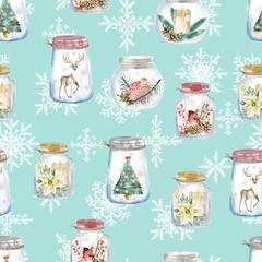 Seamless pattern with Christmas glass jars