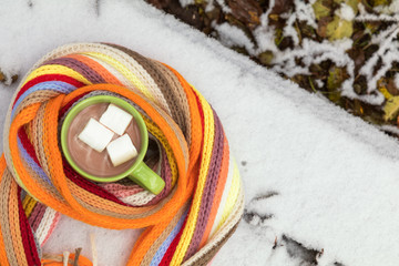 Hot chocolate with marshmallow in green cup wrapped in a cozy winter checkered scarf on the snow-covered table in the garden. Coloring and processing photo, selective focus, small depth of field