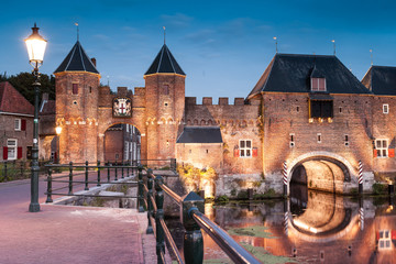 Medieval brick city gate Koppelpoort to Dutch fortress city Amersfoort Wall mural