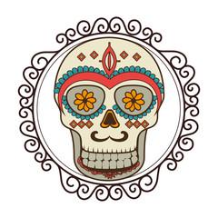 skull mask mexican culture vector illustration design
