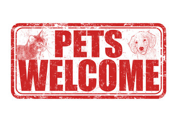 Pets welcome sign or stamp