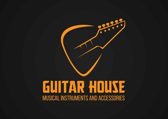 Guitar in a plectrum shape logo